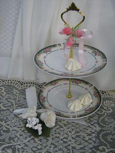 WEDDING VINTAGE FLORAL CHINA SALE 2 TIER CAKE CANDIES MINT STAND + BONUS!! #CHINA