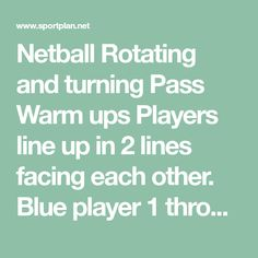 Rotating and turning Pass Warm ups - Netball Drills, Player 1, Netball, Sport, Lineup, Turning, Drill, Join, Meet, Warm