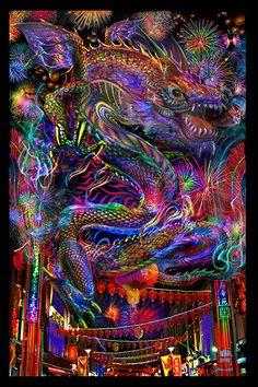 Chiniese dragon Tapisserie - Jumbie Art