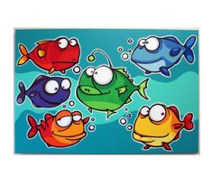 A bUNcH oF FiSHEs  24x36 original acrylic by art4barewalls on Etsy