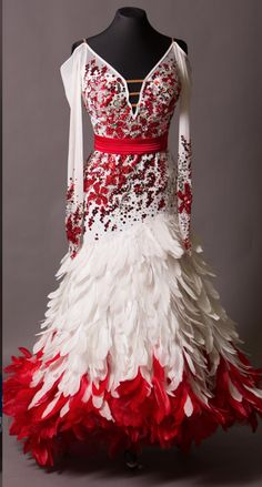 dress 33 likes: feathers and colors dislikes: blood splatter effect??