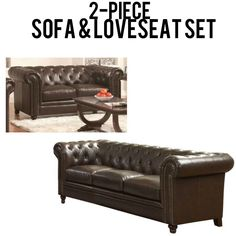 This sofa and loveseat set has everything.  Classic style complete with rolled arm and button tufting.  Detailed with nailhead trim and bonded leather, this chesterfield is elegant and handsome.  This sofa set is every bit comfortable and durable.  Wood turned legs. The cushions are made of a feather blend and are incredibly soft.
