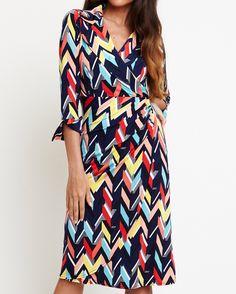 Zig zag stripe Zig Zag, Wrap Dress, Dresses With Sleeves, Long Sleeve, Fashion, Moda, Sleeve Dresses, Long Dress Patterns, Fashion Styles