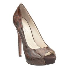 """Boutique 9 peep toe pump. All leather upper, 5 1/4"""" heel, 1 1/4"""" platform. For the undercover hooker in all of us!"""