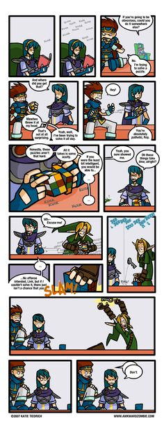 Roy, Marth, and Link (because Link is pro at solving dungeon puzzles!) - The Legend of Zelda: Ocarina of Time; funny comic by Katie Tiedrich