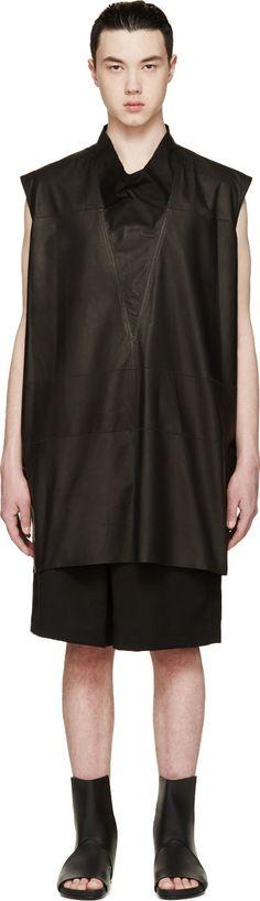 Rick Owens Black Leather Cangu T-Shirt