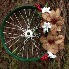 Just Jenn Home Arts Bicycle Crafts, Bicycle Decor, Christmas Wreaths, Christmas Crafts, Christmas Decorations, Christmas Time, Bicycle Wheel, Bicycle Rims, Recycled Bike Parts