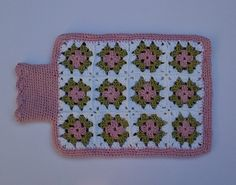Cyber monday sale. Crochet hot water bottle cover. Granny squares Pink,Green,White.