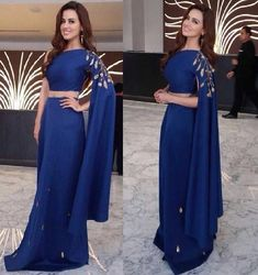 2016 beaded indian gowns open sleeve royal blue one off shoulder dresses evening wear gold zardosi and metallic emb ellishment Designer Party Wear Dresses, Designer Evening Dresses, Indian Designer Outfits, Designer Gowns, Indian Outfits, Evening Gowns, Stylish Dresses, Fashion Dresses, Woman Dresses