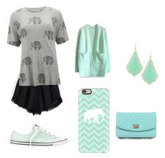 """""""Mint and gray and black"""" by lkr82203 ❤ liked on Polyvore featuring Wildfox, Converse, Chicwish, Casetify, Kendra Scott, 3AM Imports and Iwantalkofitpkease"""