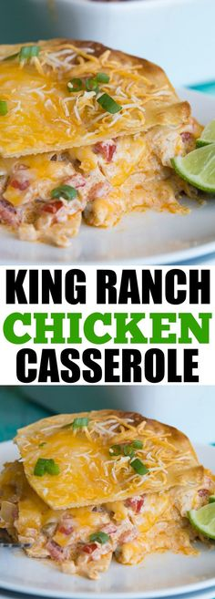 King Ranch Chicken Casserole!  This cheesy casserole is basically a Texan lasagna!  Layers of crispy corn tortillas, cheese, and a creamy chicken mixture loaded with bell peppers, tomatoes, green chiles, chili powder and cumin! Perfect for potlucks or family get togethers!