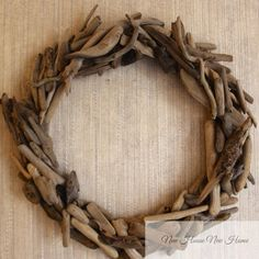 A simple project, this diy driftwood wreath is an inexpensive knock-off of the Restoration Hardware version. Driftwood Wreath, Driftwood Projects, Driftwood Art, Diy Projects, Driftwood Ideas, Driftwood Furniture, Diy Wreath, Grapevine Wreath, Mesh Wreaths