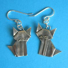 Silver Origami Cat Earrings - Fine Silver Origami. $35.00, via Etsy. I have them!