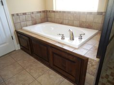 Jacuzzi Tub Surround Bathroom Eclectic With Accent Tile Beige