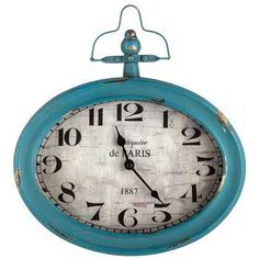 Antique Teal Oval Metal Wall Clock with Top Handle | Hobby Lobby | 603365