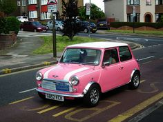 Pink Classic Mini.  1989 Austin Mini Mayfair.