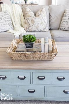 DIY Faux Planked Card Catalog Coffee Table - Bless'er House - $50 Craigslist trunk makeover @bless