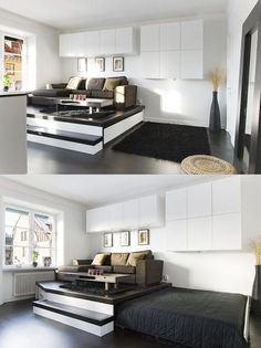 Space saving beds  bedrooms - Raising the room above the bed, rather than the bed above the room.