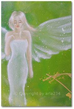Limited angel art photo, modern angel painting, artwork, contemporary guardian angels, artist,. €10.00, via Etsy.