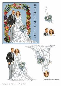 Wedding Couple in Floral Arch on Craftsuprint designed by Barbara Alderson - Step by step Wedding couple standing infront of a floral arch - Now available for download!