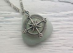 Scottish Sea Glass Necklace by Sea Glass Sparkles - Seaglass and Compass Charm ........ TRAVELLER (122)