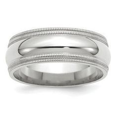 8MM Double Milgrain Edge Comfort Fit Wedding Band In 14K White Gold Gemologica.com offers a unique and simple selection of handmade fashion and fine jewelry for men, woman and children to make a statement. We offer earrings, bracelets, necklaces, pendants, rings and accessories with gemstones, diamonds and birthstones available in Sterling Silver, 10K, 14K and 18K yellow, rose and white gold, titanium and silver metal. Shop Gemologica jewellery now for cool cute design ideas: gemologica.com