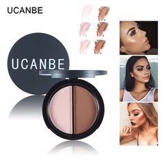 UCANBE 2 Colors Contour Palette Highlighter & Bronzer Press Powder Shimmer Grooming Powder Professional Facil Concealer Makeup #clothing,#shoes,#jewelry,#women,#men,#hats,#watches,#belts,#fashion,#style