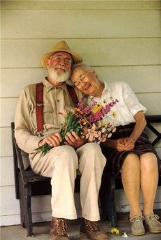 If I had a flower for every time I thought of you.I could walk through my garden forever. #oldcouple #love
