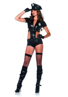 Officer Booty On Duty Adult Costume by Leg Avenue is a 2 pieces set. Officer Booty On Duty Costume includes zipper front cut out romper with attached harness and belt and matching hat.