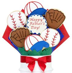 Baseball themed Father's Day cookie bouquet