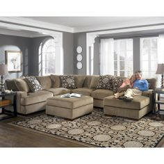 Ashley Millennium Grenada Mocha Sectional Sofa With Right Facing Chaise By Home Furnishings