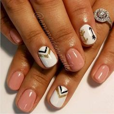 Perfect Spring nails! Love the arrows! #Arrows #Geometric #NailArt