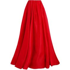 Reem Acra Pleated silk-gazar maxi skirt found on Polyvore featuring skirts, bottoms, saias, red pleated skirt, long silk skirt, petticoat skirt, long fitted skirts and layered maxi skirt