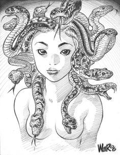 thehappysorceress: Medusa by Adam Warren Magic Monday Medusa Hair, Medusa Gorgon, Medusa Drawing, Jordi Bernet, Alex Toth, Rome Antique, Snake Girl, Visual Diary, Caravaggio