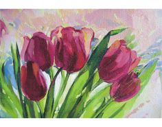 Original oil painting still life tulips by MonoAware on Etsy, $110.00