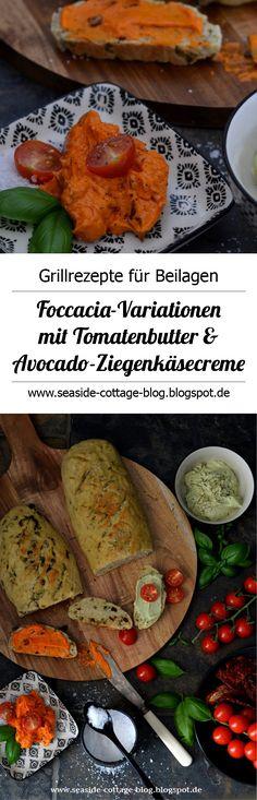 Leckere Foccacia mit Tomatenbutter und Avocado-Ziegenkäsecreme www.seaside-cottage-blog.blogspot.de