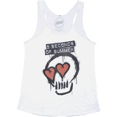 5 Seconds Of Summer Women's Heart Eyes Skull Womens Tank Large White... ❤ liked on Polyvore featuring tops, white tank, white top, white singlet, skull tank and skull tank top
