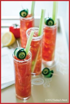 33 Next-Level Tips For A Bloody Mary Bar: Make these adorable cucumber swirl garnishes.