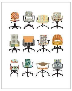 CbyC Original Illustration - Office Chairs - Limited Edition Print. via Etsy.