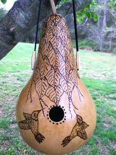 This fantastic GOURD WREN BIRD HOUSE was grown, finished, designed and signed by The Gourd Man himself. He has been on TV and in several