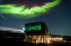 The Aurora Borealis shines above the ION Hotel.