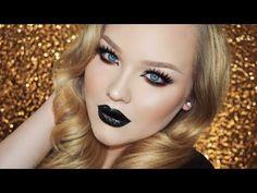 ▶ Bronzed Glitter Smokey Eyes - Vampy Lips Makeup - YouTube