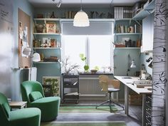 A home office with lots of storage and space for meetings