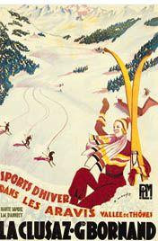 LA CLUSAZ Vintage Skiing Poster Reprint - Haute Savoie, Les Aravis, Vallee de Thones, France available at www.sportsposterwarehouse.com
