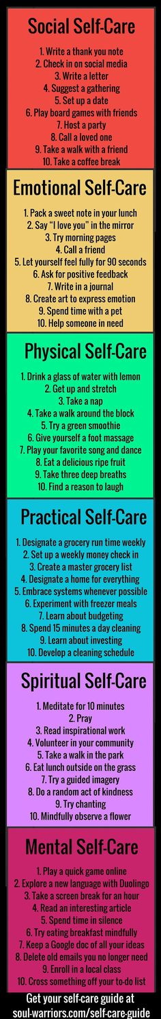 Self care tips for all aspects of your life. Write your own. Set goals. Use them as part of your coping skill set when under pressure.