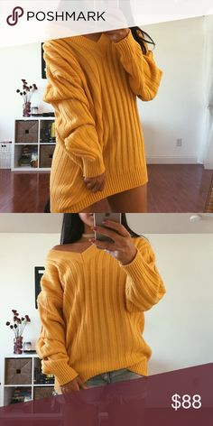 """Aurora Rich Knit Pullover The Aurora (golden) Rich Knit Pullover has a sophisticated feel to it. V-neck detail and thick lining design detail that's feels very vintage """"ivy league"""". This silhouette is a classic and the color makes it all the more beautiful and rich. •can be worn off the shoulder• My prices are a starting point; so hit the offer button. I'd love to work something out with you! Please let me know if you have any questions. [[ not depicted brand – just used for exposure ]] xo…"""