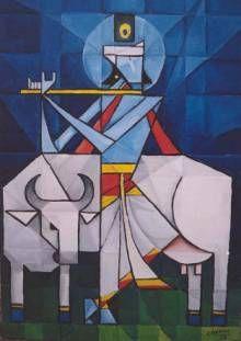 Krishna - Painting, in by Cheenu Pillai - Cubism, hindu indian mythology Krishna Painting, Krishna Art, Hare Krishna, Indian Art Paintings, Contemporary Paintings, Oil Paintings, Indian Contemporary Art, Cubism Art, Indian Folk Art