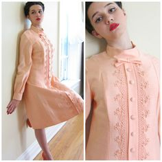 Vintage 1960s Pink Long Sleeved Dress / 60s by BasyaBerkman