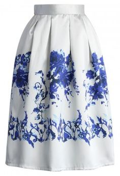 Ceramic Blue Rose Print Midi Skirt - Skirt - Bottoms - Retro, Indie and Unique Fashion
