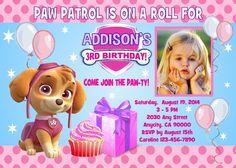 Paw Patrol Skye Theme Printable Birthday Party Invitation Cards | eBay